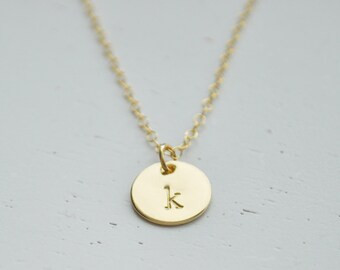 Gold Disc Initial Necklace 9.5mm - gold filled dot small circle round personalized charm layering hand stamped pendant handmade gift
