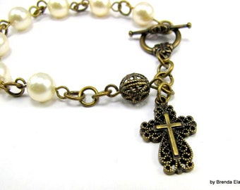Anglican Prayer Bead Bracelet  with Swarovski Pearls - You choose the color