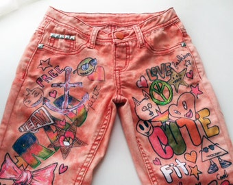 Girls Painted Skinny Jeans One of a Kind  Size 12