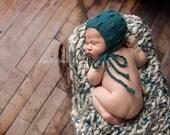 Knit Baby Bonnet Hat, Newborn Photo Shoot Prop by Cream of the Prop