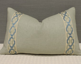 """Decorative Designer pillow cover - 12""""X20"""" - Solid heavy weight linen in ocean with attached greek key trim in blue mix"""