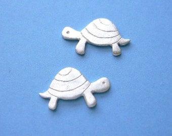 Turtle silver stud earrings - animal jewlry - tortoise