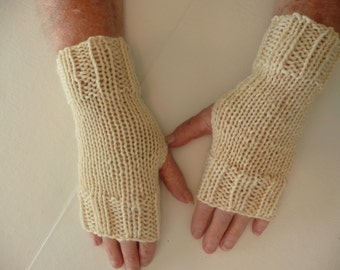 Hand Knit Fingerless Mittens/Texting Gloves-Ecru 100% Wool  Wrist Warmers- One Size Fits All