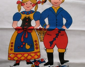 Vintage Cotton dish towel - children, red, blue, Scandinavian