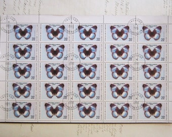 vintage postage stamps - BUTTERFLY - United Republic of Cameroon - with 1983 Yaounde postmark - full block