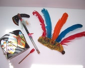 Toy Drum Set - RUBBER covered Drum - Cowboys and Indians vintage toy drum set -  Tomahawk - - Free USA Ship - Will Ship Int'l