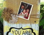 "Wood Block Photo Holder with chevrons and quote ""You Are My Sunshine"""