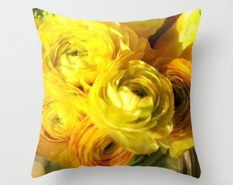 Golden Ranunculus Photo,Yellow Floral Throw Pillow Cover, Beauties, Fine Art Photography, Spring Flower, Botanical Print, Cottage Home Decor