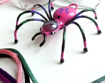 Multi Colored Spider Pendant Wire Art Gift for Women Jewelry Show Stopper Small Pink Spider and Color Cords Gift For Nature  Bug Lovers