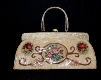 Vintage 50s Needlepoint Roses under Vinyl Handbag with Mother of Pearl Lucite Handle / Large 1950s Vintage Claire Fashions Lucite Purse