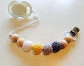 Eco-Friendly Baby Teething Pacifier Clip with Crochet wooden beads-  Ready to Ship