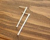 50 percent OFF Bar Stud earrings single bar earrings line stud earrings minimal in brushed Sterling silver