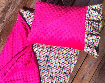 Nap Mat cover with attached Minky Blanket & Ruffle Pillow Case