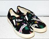 C O O L  1980s 1990s UniSex Pop Art van Style Slip on Sneaker Tennis Shoes
