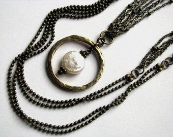 Pearl and Bronze Pendant Multistrand Necklace