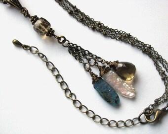 Kyanite, Whiskey Quartz and Biwa Pearl Multistrand Necklace