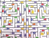 Fabric De-Stash - Timeless Treasures Patrick Lose For - Mice and Maze - 3/4 Yard Cut - New