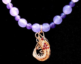 Ruby and Gold Shrimp on Amethyst Beaded Necklace