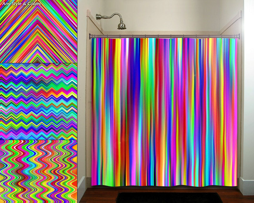 Colorful rainbow multicolor stripe shower curtain bathroom Colorful shower curtains