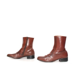 mens size 10 CLASSIC brown leather 70s BEATLE zip up classic boots
