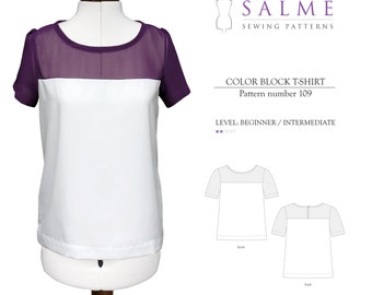 PDF Sewing pattern - Color Block T-shirt