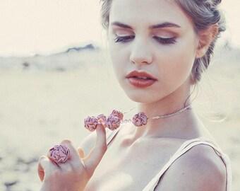 Rose quartz Fabric ring and necklace bridesmade wedding