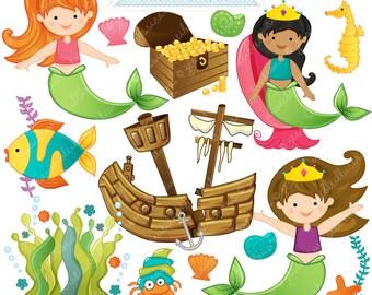 Mermaid Princess Cute Digital Clipart - Commercial Use OK - Mermaid Clipart, Mermaid Graphics, Digital Art, Mermaids