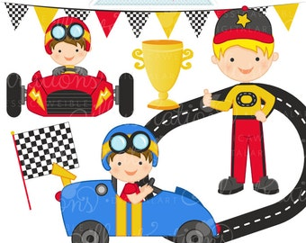 Lets Race Cute Digital Clipart - Commercial Use OK - Race Car Driver Graphics, Racing Clipart, Racecar