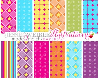 Gymnastic Stick Figures Cute Digital Papers - Commercial Use OK - Bright Neon Digital Backgrounds, Star Papers