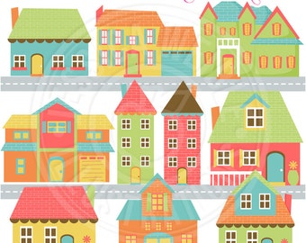 Home Sweet Home Cute Digital Clip Art - Commercial Use OK - Neighborhood Graphics, Home Clipart