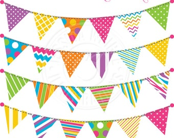 Party Bunting V1 Cute Digital Clipart for Invitations, Card Design, Scrapbooking, and Web Design, Garland Bunting Clipart