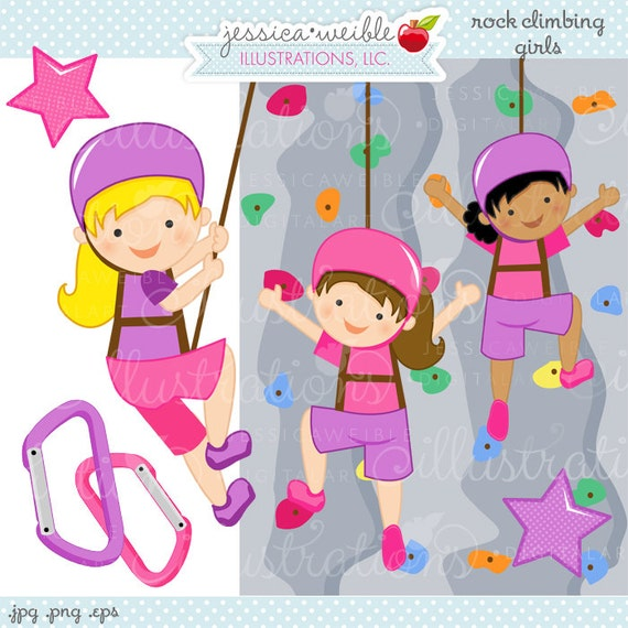Rock Wall Climbing Girls Cute Digital Clipart - Commercial Use OK - Rock Wall Climbing Graphics