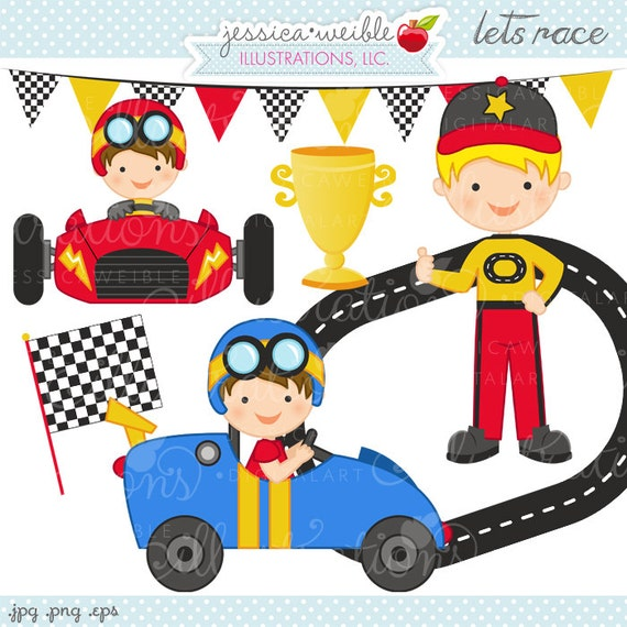 Lets Race Cute Digital Clipart Commercial Use Ok Race Car