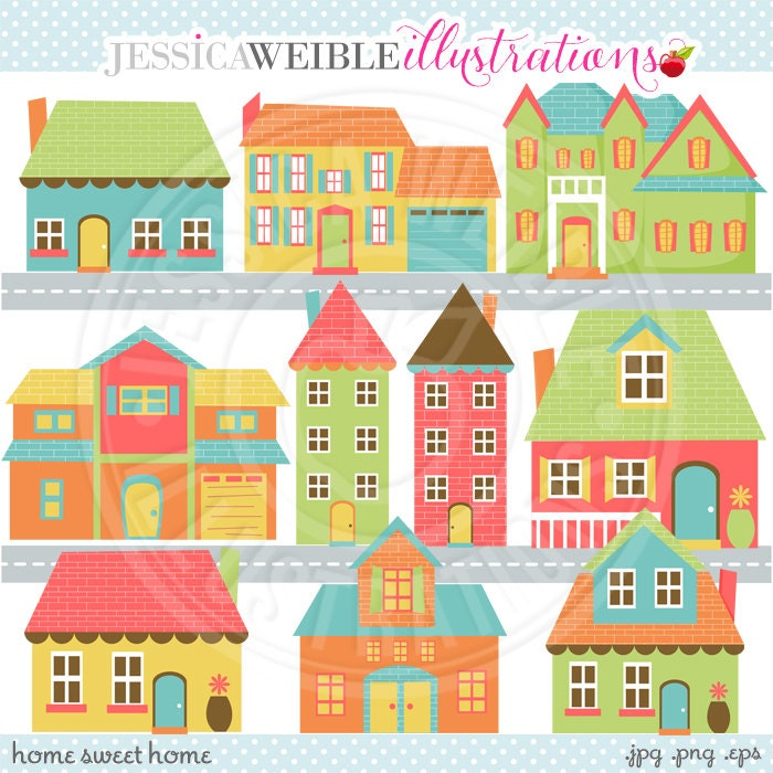 Home Sweet Home Cute Digital Clip Art Commercial Use OK