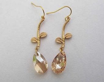 branch leaves with shampagne swarovski dangle gold filled earring