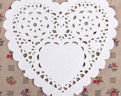 50 Romantic Heart Paper Doilies - M (5.5 x 5.5in)