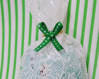 10 Stitch Ribbon Twist Ties - Green (3.1 x 1.4in)