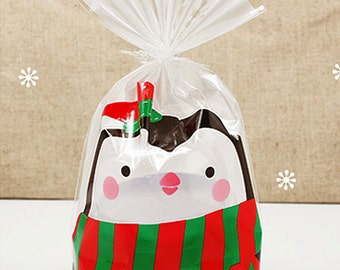 10 Let's Snow Cellophane Bags / Bottom M type - Penguin (5.5 x 7.9in)