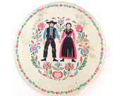 Vintage Candy Tin with Illustration of Amish Couple in Pink and Ivory