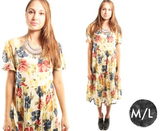 MARY ANNE 90s Sweet Boho Cotton Floral Print Pansies Garden Party Grunge Baby Doll Day Dress Medium
