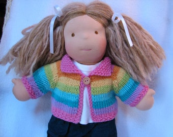 Doll Sweater Pastel Rainbow Stripes for 15 inch Doll MADE to ORDER