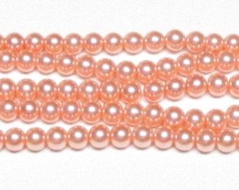 6mm Peach Glass Pearls One 16 inch strand