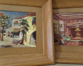 Pair of Rare Vintage  Foil Art in Wooden Frames from the 50's