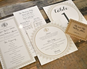 Bella  Wedding Invitation Suite Accessories - Ceremony Program, Menu, Table Number, Escort & Place Cards