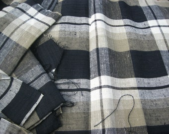 Vintage Fabric , Plaid, Madras, Tartan, Gray, White