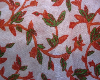 Floral Cotton Fabric, Vines, FLowers, VIntage, Flowers,  Red, Green