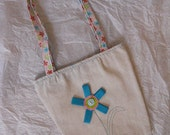 Kids Purse Tote Tan Flower Applique CLEARANCE