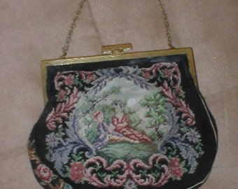 Antique Vintage Tapestry Evening Purse circa1920