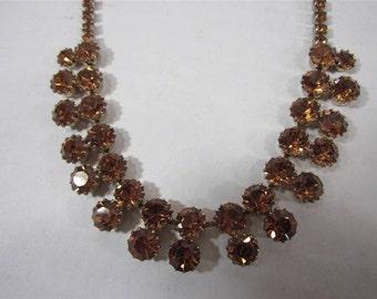 Vintage SIGNED WEISS Amber/Bronze RHINESTONE Necklace Collar/Choker