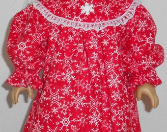 Red Snowflake Print Flannel Nightgown fits 18 inch Doll